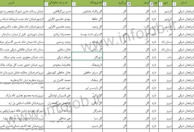 گل فروشی های ایران